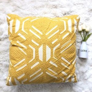 Other - Yellow and White Textured Square Accent Pillow